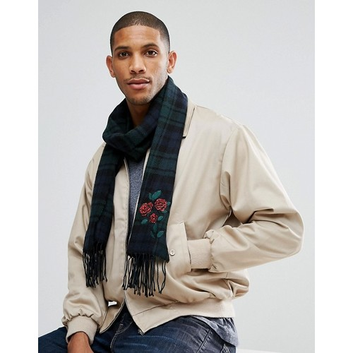 ASOS Woven Scarf In Black & Green Check With Rose Embroidery