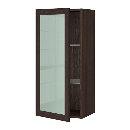 SEKTION Wall cabinet with glass door, brown, Jutis frosted glass