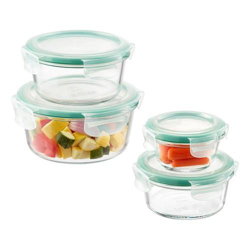 OXO Good Grips 8-Piece SNAP Round Glass Food Storage Set