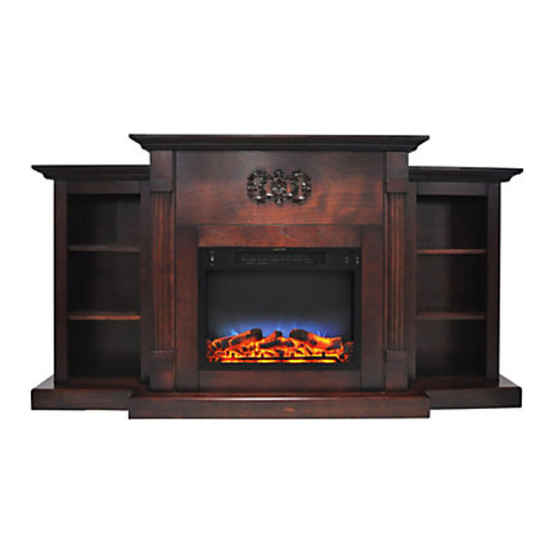 Cambridge Sanoma Electric Fireplace With Built-In Bookshelves And Multicolor LED Flame Display, Mahogany