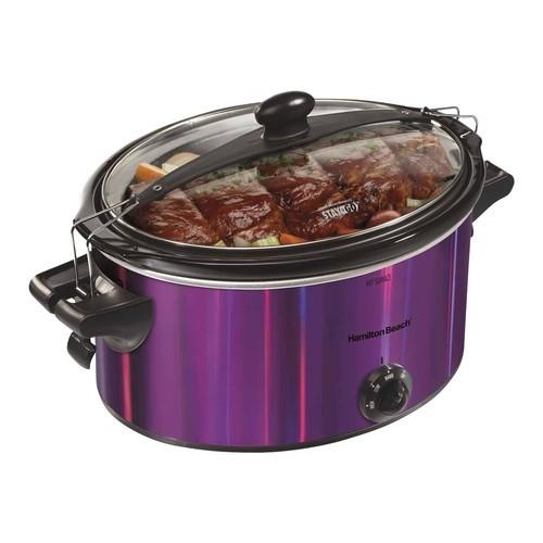 Hamilton Beach - Stay or Go 5-Quart Slow Cooker - Purple