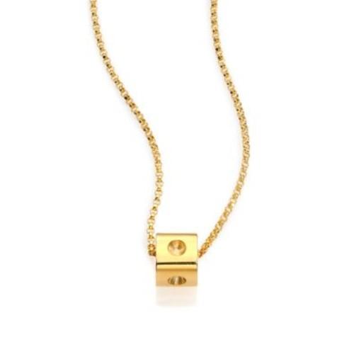 Pois Moi 18K Yellow Gold Mini Cube Pendant Necklace