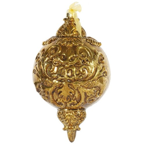 Antique Gold Plastic 12-inch Ball Finial Ornament