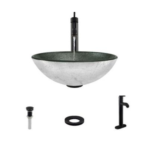 MR Direct Glass Vessel Sink in Silver Mesh with 718 Faucet and Pop-Up Drain in Antique Bronze