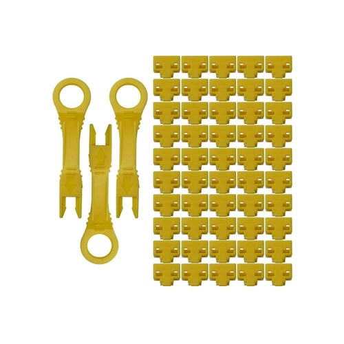 NTW net-Lock Locking RJ45 Port/Dust Blocker with Color Coded Keys, Yellow (50 + 3 Key)