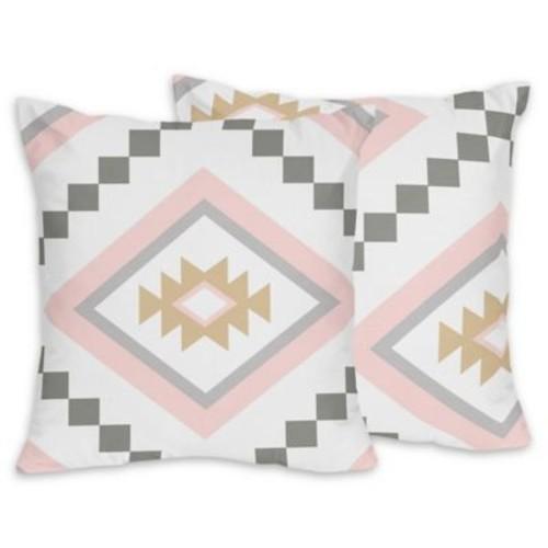 Sweet Jojo Designs Aztec Throw Pillows in Pink/Grey (Set of 2)
