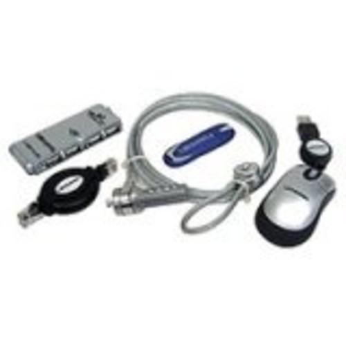 Lenmar LK15 Notebook Accessory Kit Mini 4-Port USB 2.0 Hub Laptop Lock Security Cable