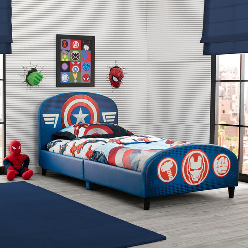 Marvel Avengers Upholstered Headboard and Footboard Twin Bed - Blue