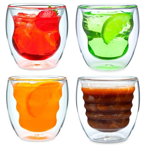 Ozeri Curva Artisan Series Double Wall Beverage Glasses and Tumblers by - Set of 4 Unique 8 oz Drinking Glasses