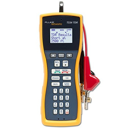 Fluke Networks TS54-BANA Premium Voice Data and Video Telephone Test Set with TDR, Extra-Large Alligator Clips and Test Probe, 4mm Banana [4mm Banana, Extra-Large Alligator Clips and Test Probe]
