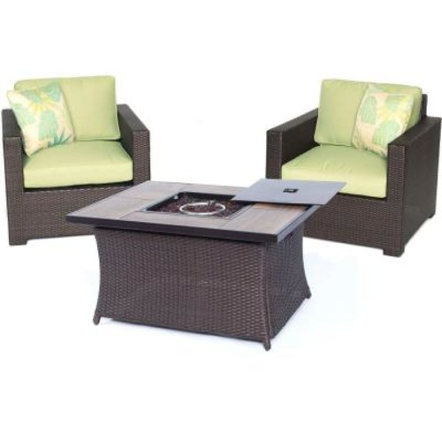 Hanover Metropolitan Brown 3-Piece All-Weather Wicker Patio LP Gas Fire Pit Chat Set with Avocado Green Cushions