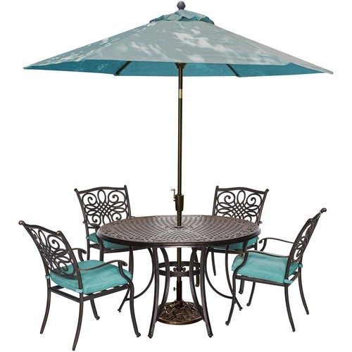Cambridge Seasons 5-Piece All-Weather Round Patio Dining Set with Blue Cushions, Umbrella and Umbrella Base