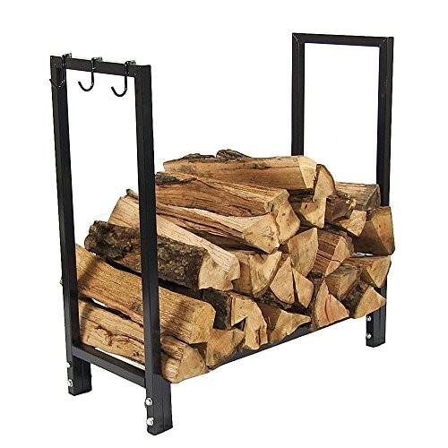 Sunnydaze 30 Inch Indoor/Outdoor Black Steel Firewood Log Holder [Log Rack Only]