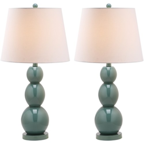 Safavieh Lighting 30.5-inch Mae Long Neck Ceramic Marine Blue Table Lamps (Set of 2)