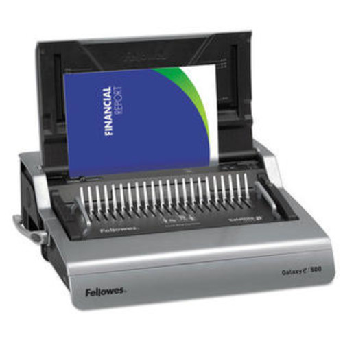 Fellowes Mfg Co. 5218301 Galaxy 500 Electric Comb Binding System, 500 Sheets, 19 5/8x17 3/4x6 1/2, Gray