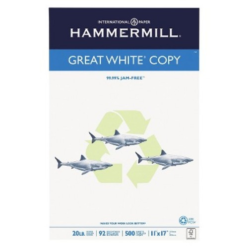 Hammermill Recycled Copy Paper, 92 Brightness, 20lb, 11 x 17 - White (500 Sheets Per Ream)