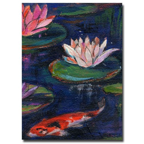 Trademark Global Sheila Golden 'The Lily Pond' Canvas Art [Overall Dimensions : 16x24]