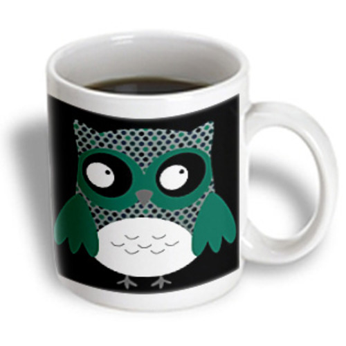 3dRose - Anne Marie Baugh Owls - Cute Deep Blue and Green Polka Dots Owl - 11 oz mug