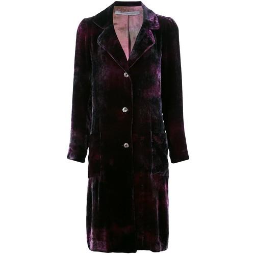 RAQUEL ALLEGRA Velvet Effect Single Breasted Coat