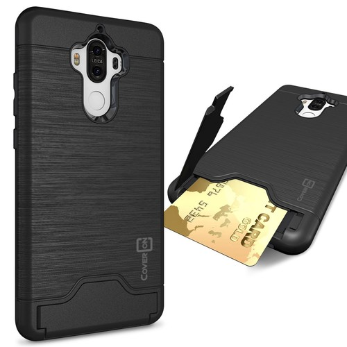 Huawei Mate 9 Case, CoverON [SecureCard Series] Slim Fit Protective Hard Hybrid Cover with Credit Card Slot and Kickstand Phone Case for Huawei Mate 9 - Black [Black]