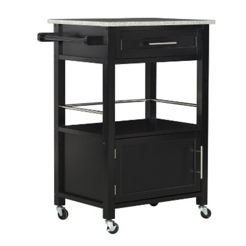 Mitchell Kitchen Cart Granite Top - Black Wood - Linon