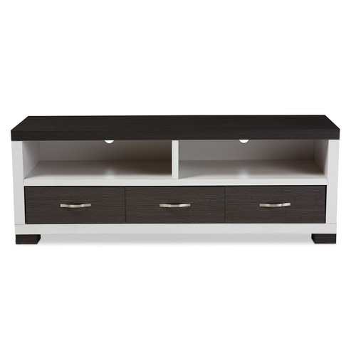 Baxton Studio Oxley 59-Inch Modern and Contemporary Two-tone White and Dark Brown Entertainment TV Cabinet with Three Drawers