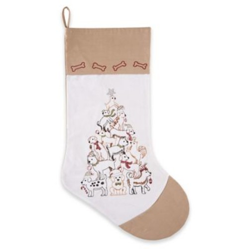 C&F Home Puppy Tree Stocking in White