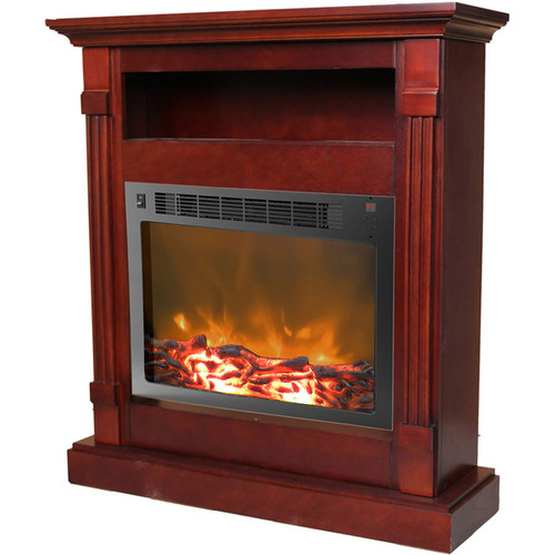 Cambridge Sienna Mahogany Fireplace Mantel with Electronic Fireplace Insert
