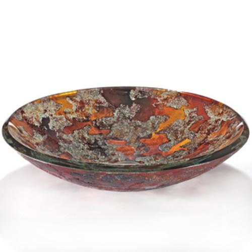 VIGO Janus Glass Vessel Sink and Olus Wall Mount Faucet Set in Antique Rubbed Bronze