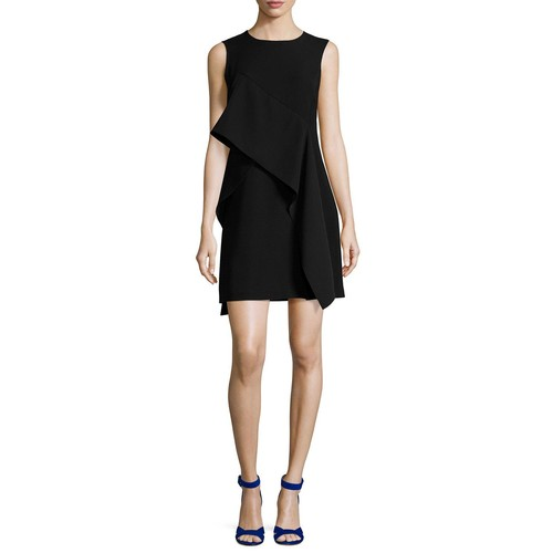 DIANE VON FURSTENBERG Ruffle-Front Sleeveless Crepe Mini Dress, Black