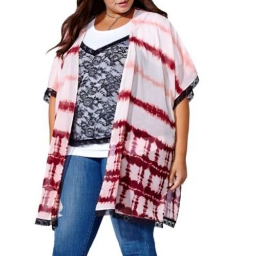 Plus Tie-Dye Open Front Kimono