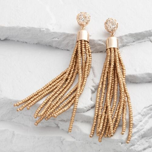Gold Seed Bead Tassel Earrings