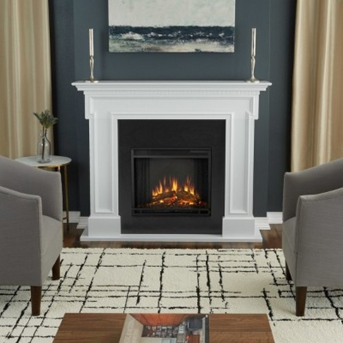 Real Flame Thayer 54 in. Electric Fireplace in White
