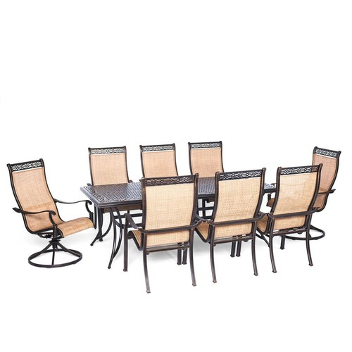Agio Somerset 9-Piece Aluminum Rectangular Outdoor Dining Set with 2 Swivels and Cast-Top Table