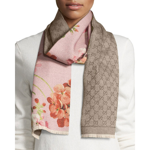 GUCCI Miniorophin Floral & Logo Wool Scarf, Shell/Pink