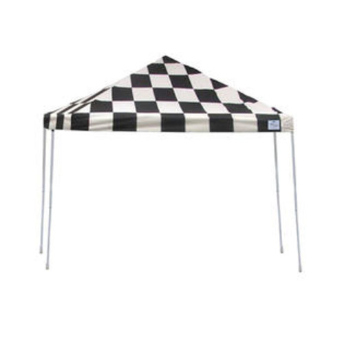 ShelterLogic Outdoor Sun Shade 12x12 ST Pop-up Canopy Checkered Flag Cover Black Roller Bag
