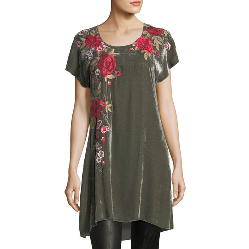 Meri Velvet Embroidered Tunic, Plus Size