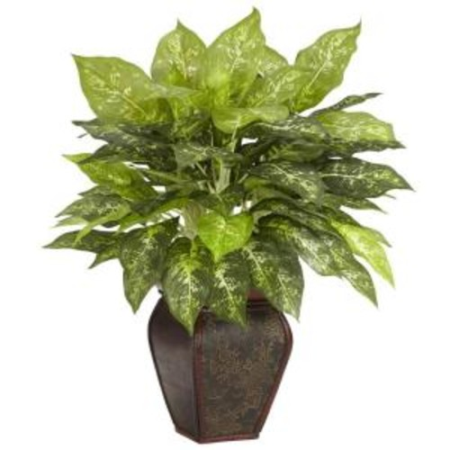 Nearly Natural 23 in. H Green Dieffenbachia with Decorative Vase Silk Plant