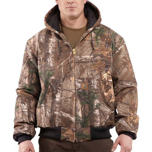 Carhartt Men's Quilted Flannel-Lined Camo Active Jacket - Realtree Camo, Large, Model# J221