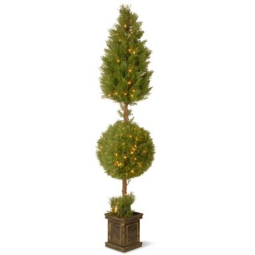 National Tree Co. Juniper Cone and Ball Topiary Tree in Square Pot