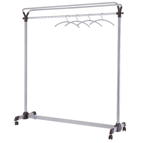 Alba Double-Sided High Capacity Mobile Garment Rack with 3 Metal and Plastic Hangers, Steel with Black Accents (PMGROUP3)