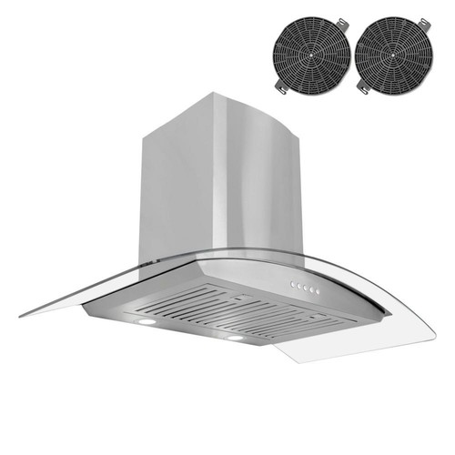 Cosmo 36 in. Ductless Wall Mount Range Hood in Stainless Steel with LED Lighting and Recirculating Filter Kit