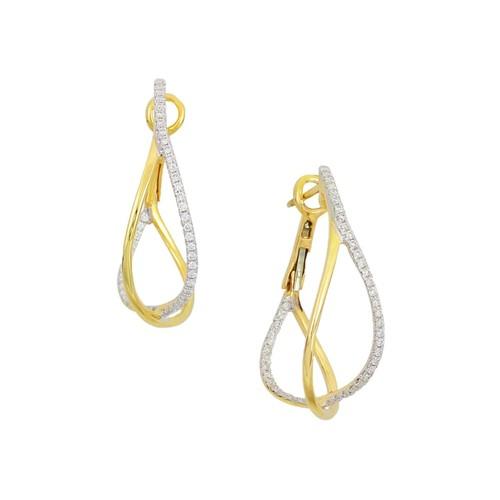18K Yellow Gold Crossover Diamond Hoop Earrings