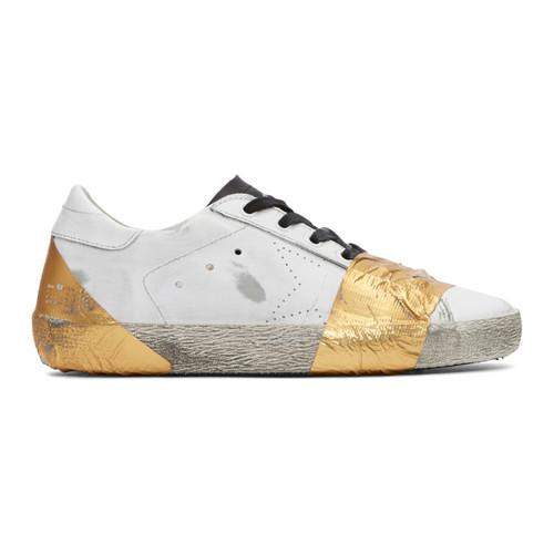 GOLDEN GOOSE White & Gold Tape Skate Superstar Sneakers