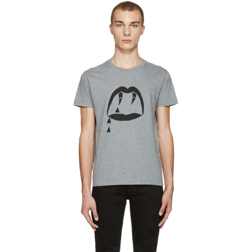 SAINT LAURENT Grey Blood Luster T-Shirt