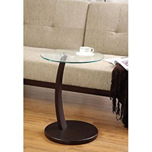 Coaster 900256 Round Accent Table with Glass Top and Cappuccino Base [Cappuccino]