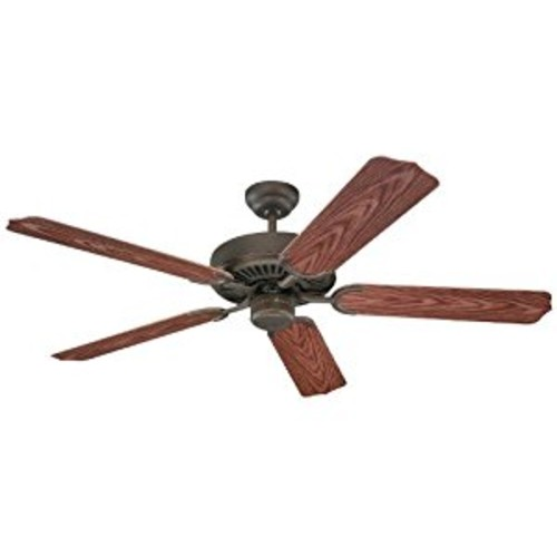 Monte Carlo 5WF52RB Weatherford 52-Inch 5-Blade Outdoor Ceiling Fan with Walnut ABS with Grain Blades, Roman Bronze [Roman Bronze]