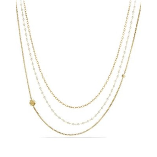Starburst Chain Necklace with Pearls in G