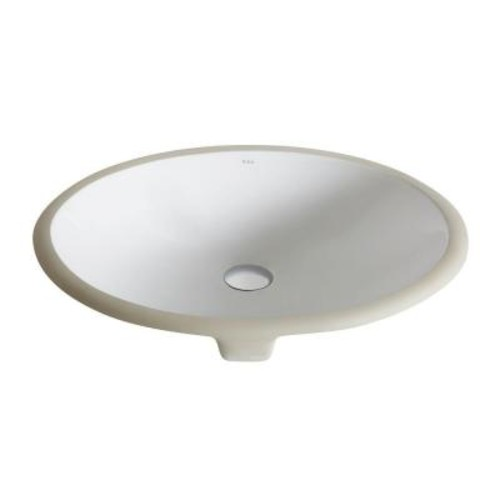 KRAUS Elavo Small Oval Ceramic Undermount Bathroom Sink in White with Overflow