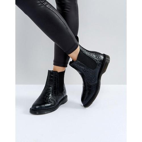 Dr Martens Kensington Flora Black Croco Chelsea Boots